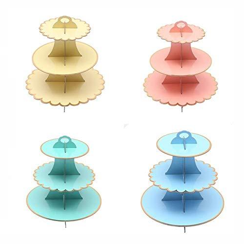 Kanqingqing-Home Bandejas para Tartas Cartones de apilamiento de pastelería de cartón de 3 Niveles Sirviendo un Soporte para Cupcakes Postre Torre Platino Exhibición de Alimentos para cumpleaños