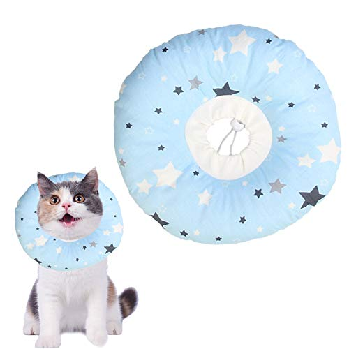 N\O Yemiany Elizabeth Collar de Cuello para Mascotas Collar de algodón Inflable Suave Collar de Cono para Mascotas Ajustable para después de la cirugía Anti-Mordida Lamido(Azul,Ajustable17-27CM)