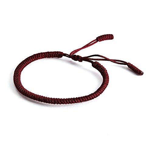Lucky Buddhist Pulsera budistas tibetanas + Colgante/Collar! Para mujeres hombre adolescente. Tamaño ajustable para casi cualquier mano. Hecho a mano de cuerda. Muchos tipos disponibles (Rojo Oscuro)