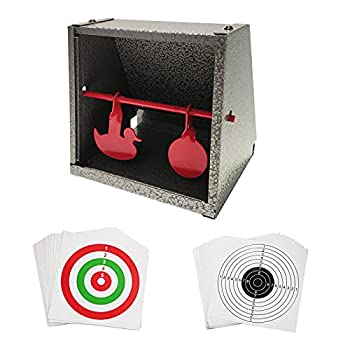 Atflbox BB Trap Target with 20pcs Paper Target and Resetting Shooting Target for Airsoft Pellet Gun Rifle BB Gun