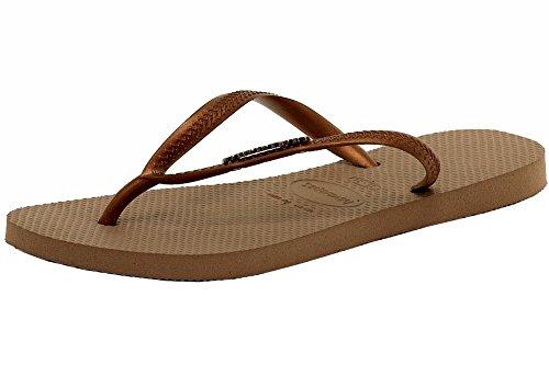 Havaianas Slim Logo Metallic Rose Gold/Copper Flip Flops Sandals Shoes Sz: 11/12