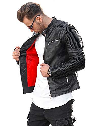 Rello & Reese Herren Kunst-Lederjacke schwarz Jacke Biker-Style Übergangsjacke Stehkragen PH-27 [Schwarz, XL]