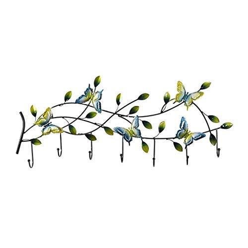 Ganchos de Perchero Muro de Hierro abrigo colgado Estante rústico Pastoral gancho de la pared Decoración Gancho de entrada dominante del marco de la decoración elegante de la mariposa azul de la chaqu