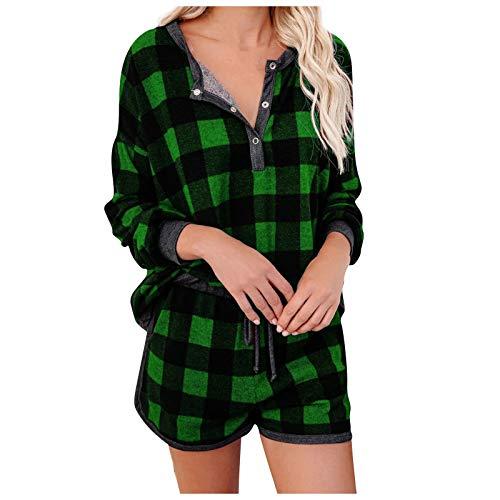 YANFANG Conjunto de Pijama de Manga Larga con Bolsillo a Cuadros para Mujer Night Lounge Top Ropa de Dormir de casa Corta