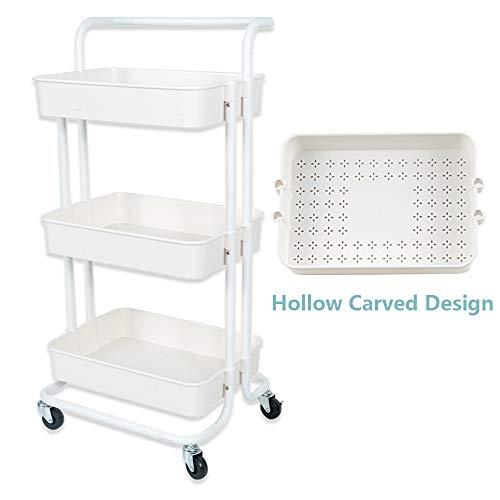 NiDream 3-Etagen Küchenwagen, Rollwagen, multifunktionaler Servierwagen mit beweglichen Rädern für Küche, Schlafzimmer, Badezimmer und Balkon(Weiß)
