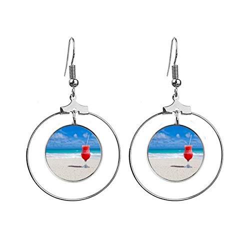 Ocean Zand Strand Watermeloen Sap Foto Oorbellen Dangle Hoop Sieraden Drop Cirkel