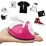 Geekboy Mini Heat Press Machine for T-Shirts Shoes Hats Masks and Small HTV Vinyl Projects, with Charging Base Accessories, Portable Mini Easy Press for Heating Transfer (Pink)