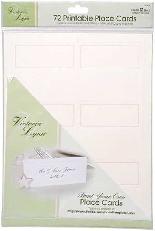 Darice VL3474 72 Count Place Cards 12 Sheets Ivory