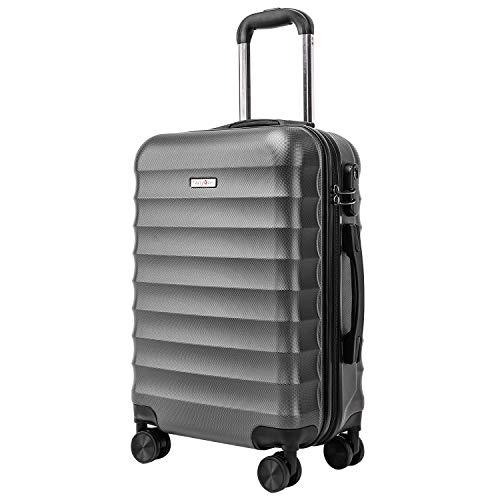 CarryOne Bagaglio a Mano Trolley Valigia Rigida e Leggera Valigie con rotelle girevoli, 55cm, 34liters, per viaggio(Grigio)