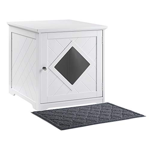 unipaws Cat Litter Box Enclosure with Mat Privacy Cat Washroom Litter Box Hidden Pet Crate with Sturdy Wooden Structure Cat House Nightstand