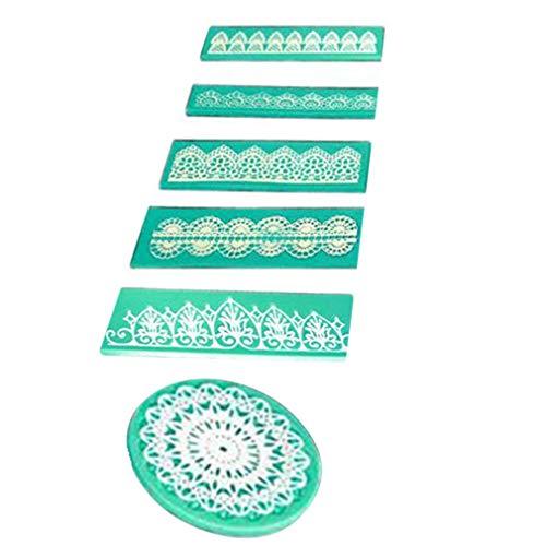 bansd Molde de Silicona de Encaje Herramientas de decoración de Pasteles universales Molde en Relieve Artesanal de azúcar Verde