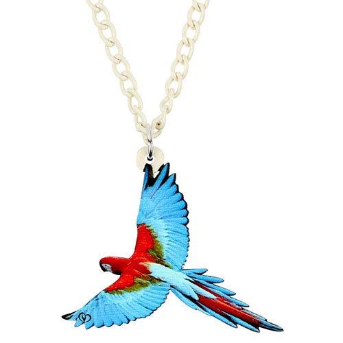 AdronQ Collar Acrílico Rojo Y Verde Guacamayo Loro Pájaro Colgante Collar Cadena Gargantilla Joyería De Moda para Mascotas para