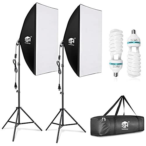 SH Softbox Lighting kit Video Studio Lights 20x28 inch Professional Photography Lighting Equipment with 150W 5500K Bulbs E27 Socket for Video Recording, Photo Shooting, Portrait Photography
