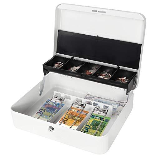 Parrency Große Geldkassette mit Geldfach, Sicherheitsverschluss, freitragendes Münzfach, 3 Bills/5 Münzen Large weiß