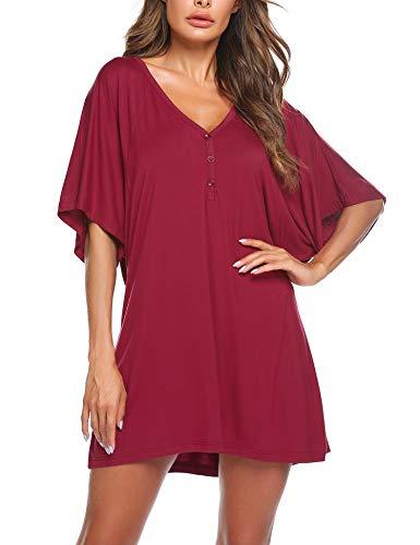 Tunika Damen Nachthemd Kurzarm Schlafkleid Pyjama T-Shirt Bluse mit Top mit Knopfleiste Nachtwäsche Casual Oberteil für Frauen Mädchen Sommer