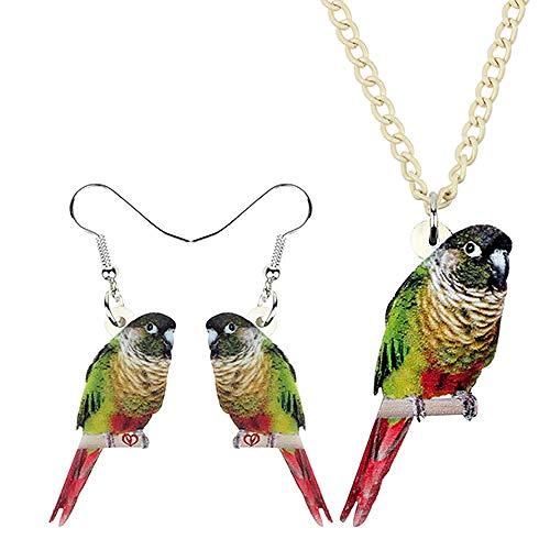 XQAQW Los niños Collar de acrílico y Pendientes Lindo pájaro Verde joyería Conjunto de niñas decoración de Fiesta Encanto Regalo