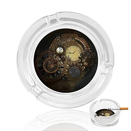 Cenicero de cristal redondo portátil de 3.3 pulgadas con 4 ranuras, soporte duradero para cenizas para café/bar/patio/al aire libre/interior/oficina/mesa/decoración del hogar, relojes Steampunk