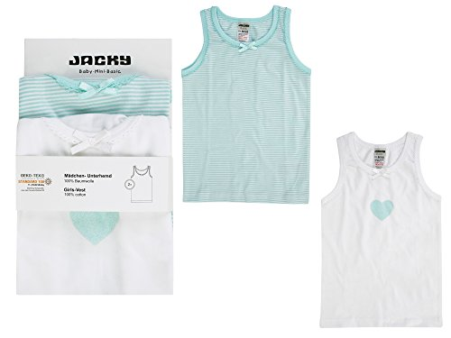 Jacky Jacky Mädchen Unterhemden, 2er-Pack, Größe: 86/92, Alter: 1-1,5 Jahre, Türkis/Weiß, 770060
