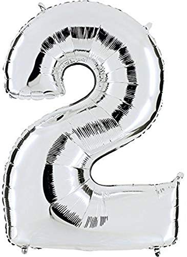 Dancing Queen Geburtstagsluftballons Zahlen Luftballon für Helium & Luft XXL Ballon Zahl 2 Zahlenballon Silber 100 cm