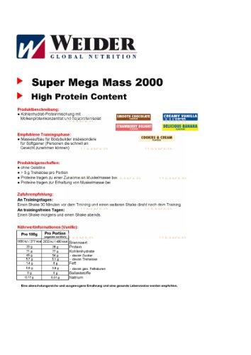 Weider Mega Mass 2000, Vanille, 1,5kg Dose - 2
