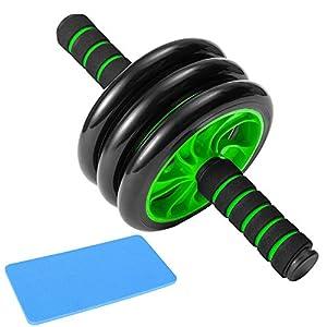 ZoneYan AB Roller Addominali Wheel, Roller Addominali Professionale, Ruota Addominali Fitness, 3 Ruote Addominale Professionale, Attrezzo per Addominali AB Wheel, con Tappetino Ginocchia