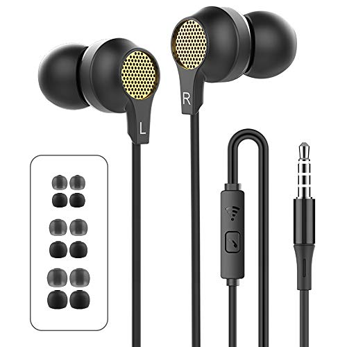 WalkerFit in-Ear Headphones Bass Wired Earbuds with Microphone and...