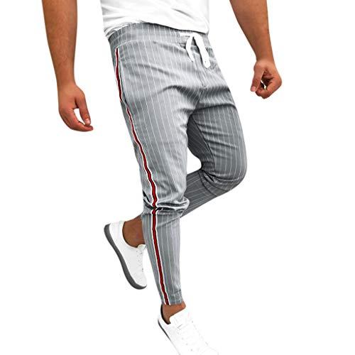 Pantalón para Hombres Slim-Fit Raya Lateral Casual a Cuadros Moda Elástico Finos Chino Pantalones Deportivos Casuales pantalón Chandal Elástica Running Jogging Pantalones con cordón Gusspower