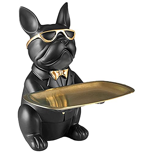 YAYONG Bulldog Statue Holding Storage Tray Resin Cute French Bulldog Sculptures Keys Holder Candy Dish Jewelry Earrings Holder - Sculpture Storage Tray