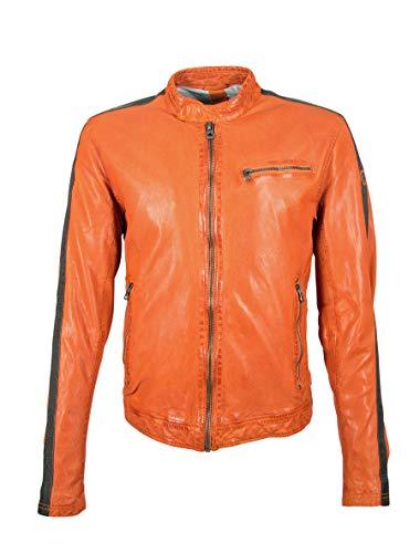 Kurze Herren Racer Lederjacke Bikerjacke mit Kontrastfarbe Streifen an Armen - GBFlori LAROV in orange (Orange, XL)