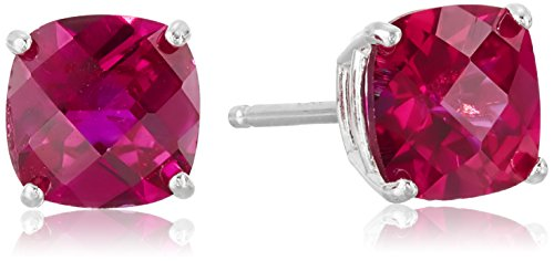 Sterling Silver Cushion-Cut Checkerboard Created Ruby Stud Stud Earrings (6mm)