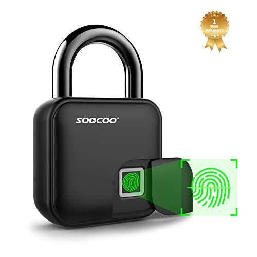 Fingerprint Padlock Keyless Smart Lock- SOOCOO Thumbprint Biometric Padlock Ip66 Waterproof Portable Security Locker For Door,Bicycle,Scooter,Tool Box(Upgrated)(L3)