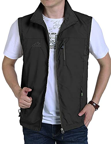 Gnveub Men's Casual Outdoors Lightweight Vest Quick Dry Fishing Hiking Photo Sleeveless Vest with Pockets(Black-XL)