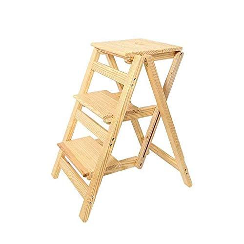 ygqbgy Silla Plegable del hogar de Escalera Completo de Madera Maciza Escalera Silla Multifuncional de Doble Uso Escalera Plegable Escalera del Taburete del Taburete de Madera Escalera