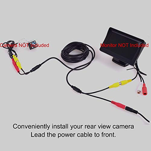 Car RCA DC Audio Video AV Extension Cable for CCTV Security, Truck Bus Trailer Reverse Parking Camera (5 Meters/16 Feet) - 2 in 1 RCA Video & DC Power Cable