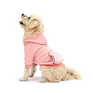 Dog Hoodie Fleece Sweatshirt for Small Medium Large Extra Small XL Dogs Charcoal Gray Pink Red Purple with Harness Hole and Reflective Stripe Zipper Pullover Dogs Hooded Warm Jacket (S, Pink)