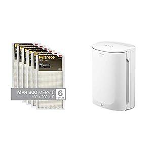 Filtrete 10x20x1, Air Filter, MPR 300, Clean Living Basic Dust, 6-Pack & Filtrete Small/Medium Air Purifier