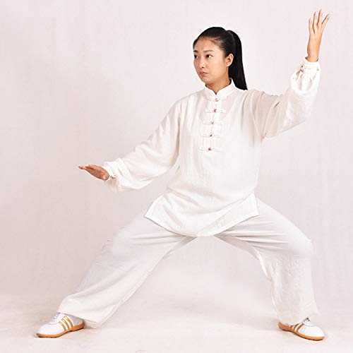 Ropa De Tai Chi Hombre,Chino Clásico Shaolin Kungfu Wing Chun Qi Gong Zen Traje De Meditació Lino Manga Larga Suave Disfraz,White-L