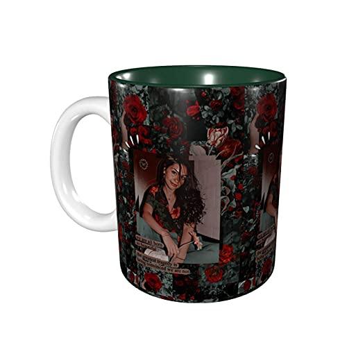DJNGN Tazas novedosas de Ales-Sia Cara, prácticas tazas/tazas de café, 11 onzas de interesantes tazas de café verde bosque