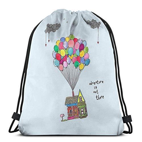 FVBV Up, Adventure Is Out There, Travel Drawstring Bag Sports Fitness Bag Bolsa de viaje Bolsa de regalo Mochila de fitness, mochila escolar, bolsa de viaje