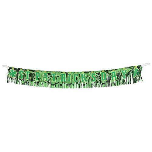 Fun Express - St Pats Foil Fringe Banner for St. Patrick's Day - Party Decor - Hanging Decor - Misc Hanging Decor - St. Patrick's Day - 1 Piece