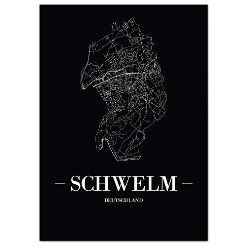 JUNIWORDS Stadtposter, Schwelm, Wähle eine Größe, 40 x 60 cm, Poster, Schrift A, Schwarz