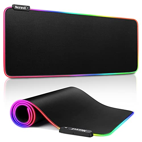Nexwell RGB Gaming Mouse Pad Large, Soft Oversized Glowing Extended LED Mousepad with 10 Lighting Mode, Anti-Slip Rubber Base and Waterproof Surface Computer Keyboard Pad Mat - 31.5 x 11.8in