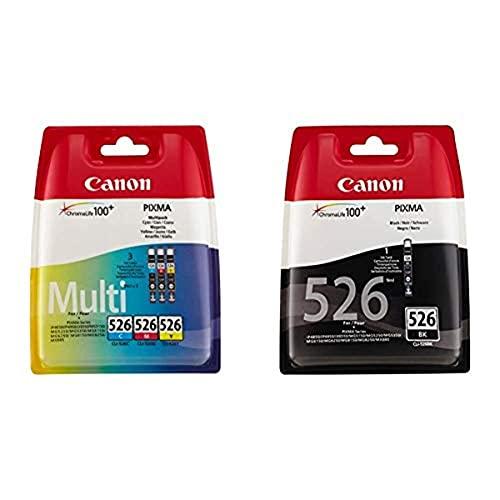 Canon CLI-526 Cartouche C/M/Y Multipack Cyan, Magenta, Jaune (Multipack Plastique sécurisé) & CLI-526 Cartouche BK Noire (Pack Plastique sécurisé)