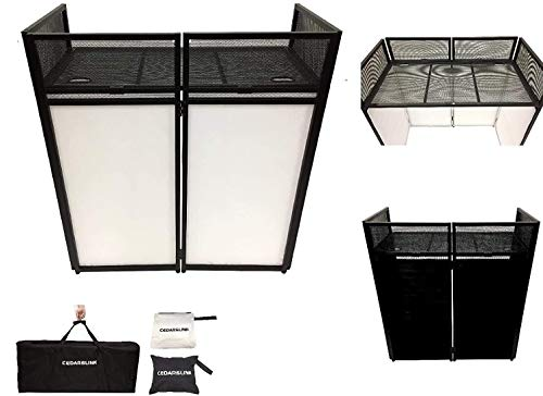 """DJ Event Facade White/Black Scrim Metal Frame Booth + 20"""" x 40"""" Flat Table Top Includes Both White and Black Panels + Carrying Cases!"""