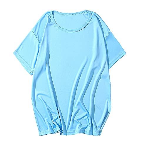 N\P Camiseta de verano de cuello redondo para hombre y mujer