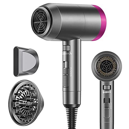 Asciugacapelli Ionico Professionale 1800w per Asciugatura Rapida, Potente Phon per Capelli con 2 Velocità e 3 Impostazione della Temperatura, Pulsante Caldo Freddo, con Diffusore e Concentratore