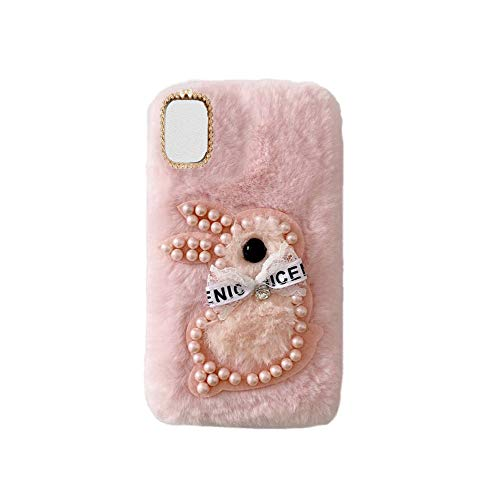 YHY S21 FE Estuche Teléfono Móvil Estilo Lindo 3D Perla Linda Peluche De Conejo para Samsung Galaxy S21 FE Rosado