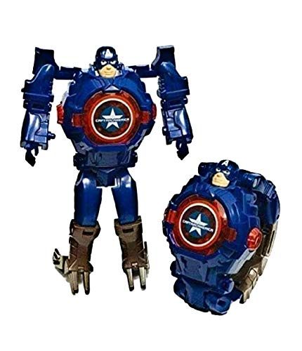 TRUVENDOR ENTERPRISES Transformable Robot Toy Convert to Digital Wrist Watch for Kids Deformation Watch Figures Plus Watch ( Blue )