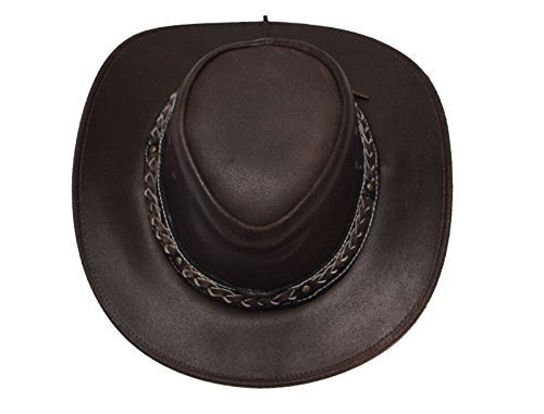 Sombrero australiano de Bush, sombrero de vaquero estilo occidental outback cuero disponible en Negro y Brown