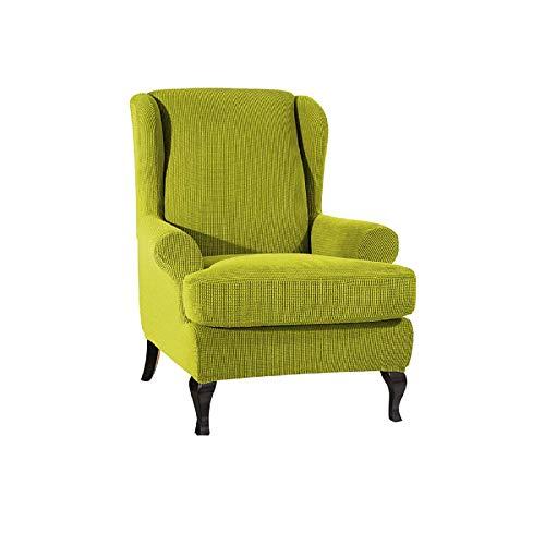 ANXWA Uno-plazas Completo-Incluido Funda para Sofá,Estiramiento Comprobar El Patrón Funda De Sofá,Plegable Lavable Funda Cubre Sofá,Hotel Dormitorio Cubre Sofa-Verde Un